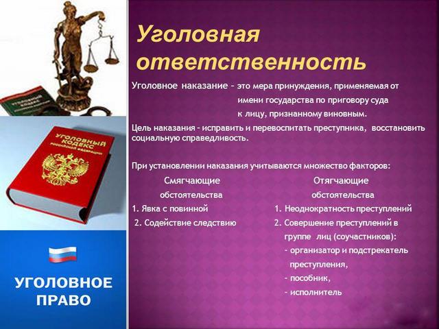 Соотношение наказания и уголовной ответственности в УК РФ